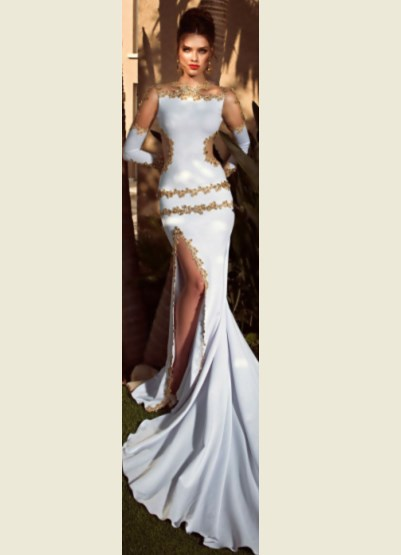 Mermaid White and Gold Wedding Dress