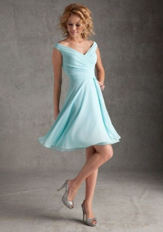 Short Chiffon Aqua Dress for Teen Girls