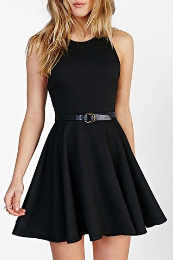Short Chiffon Black Dresses for Teen Girls
