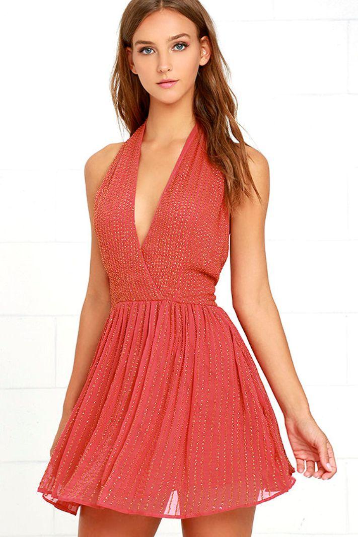 Short Chiffon Coral Dresses