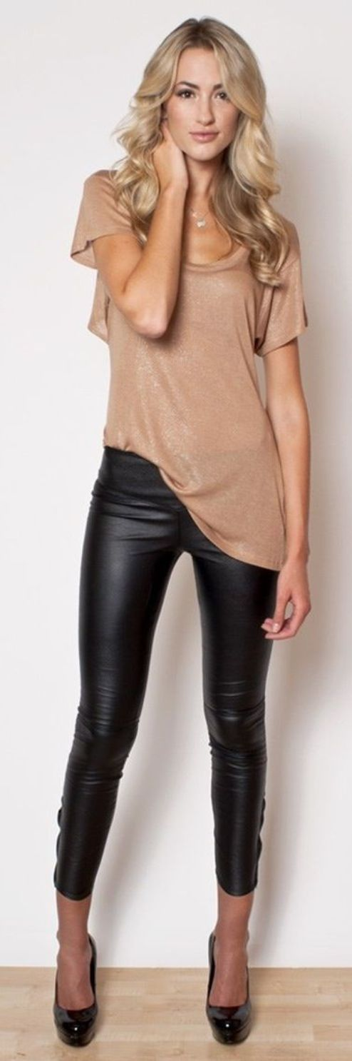 Teenage Girls Styles With Leather Pants