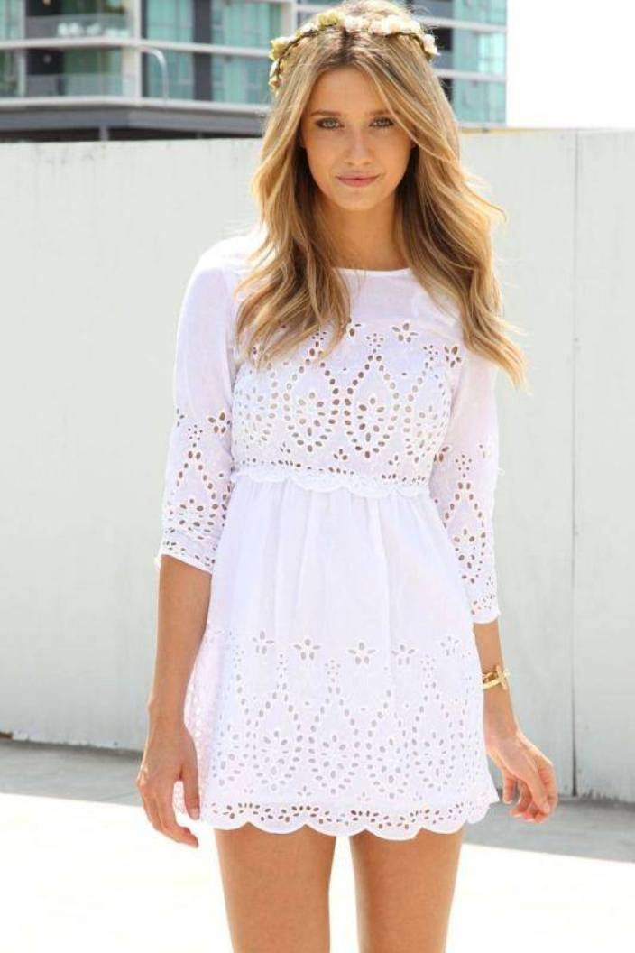 White Graduation Dresses Under $100 With Lace