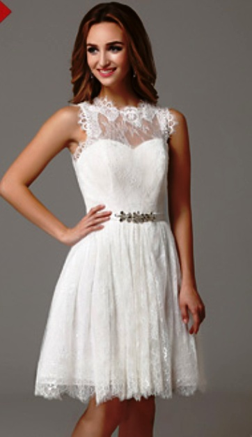 White Graduation Dresses With Lace