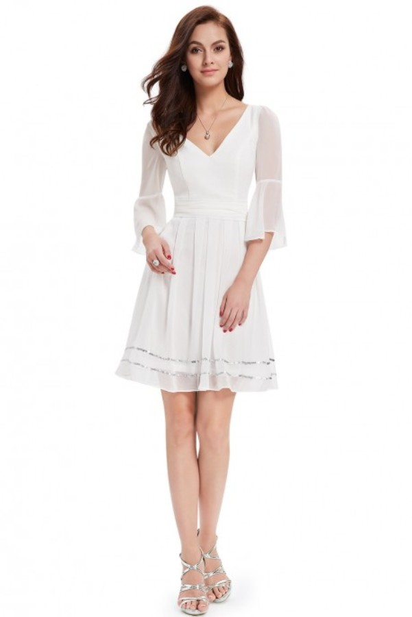 White Graduation Dresses With Sleeves