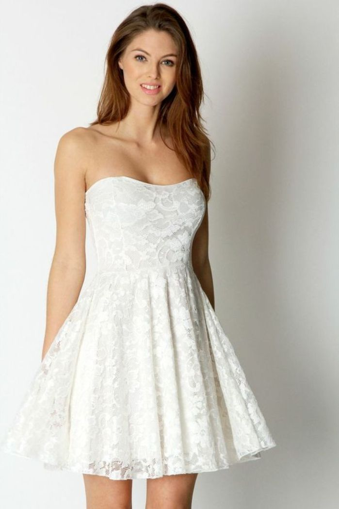 White Lace Graduation Dresses Under $100