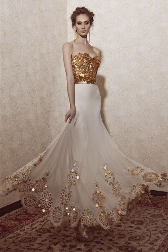 14 gorgeous white and gold wedding dress getfashionideas white and gold combination wedding dresses junglespirit Images