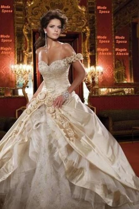 White and Gold Wedding Dress Princesses