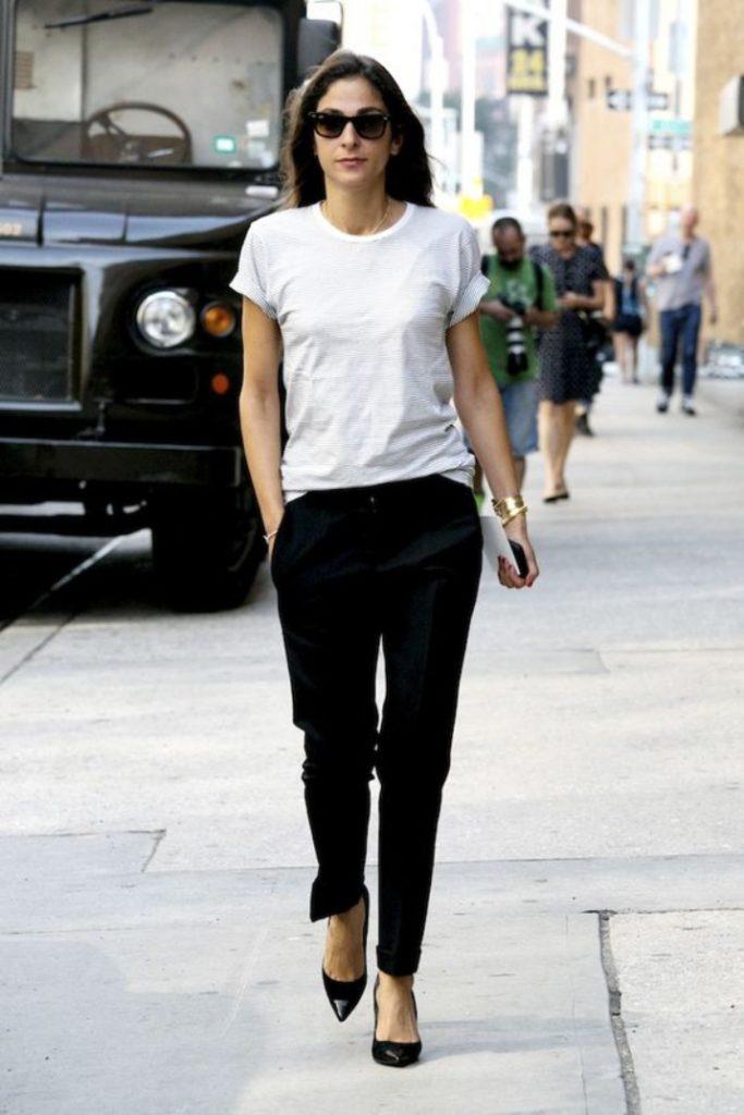 black dress pants and polo shirt for women