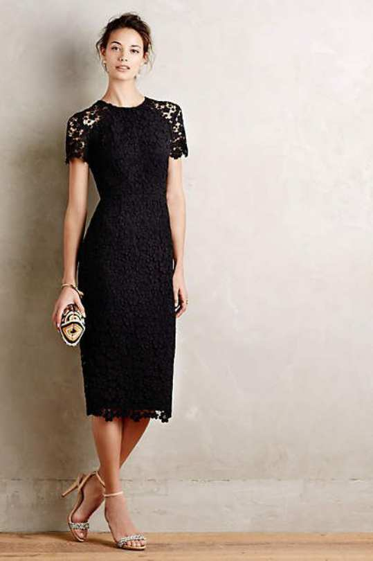 black dress for wedding guest